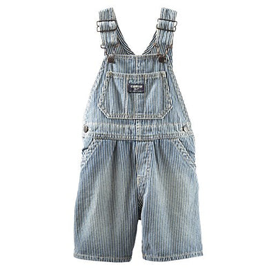 Oshkosh Baby Boys Hickory Stripe Denim Shortalls - 3M