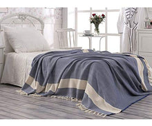 Load image into Gallery viewer, Eshma Mardini Turkish Cotton Quilt Bed Spread Blanket Bed Cover For All Season 98  X 77.5  - Navy