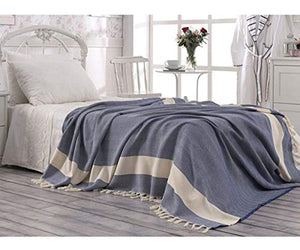 Eshma Mardini Turkish Cotton Quilt Bed Spread Blanket Bed Cover For All Season 98  X 77.5  - Navy