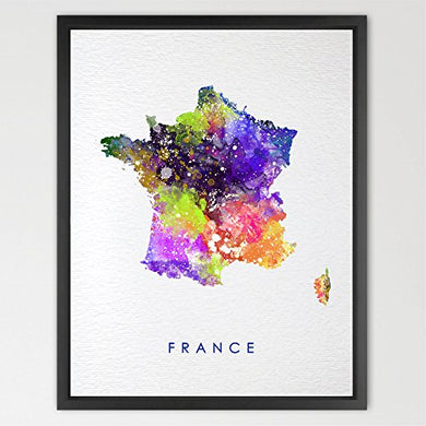 Dignovel Studios 8X10 France Map Watercolor Illustrations Art Print Wedding Gift Wall Art Poster Giclee Wall Decor Art Home Decor Wall Hanging World Map Print N206