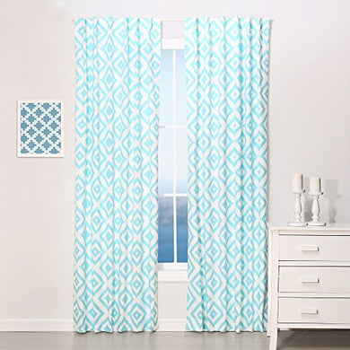 Teal Blue Diamond Tile Print Blackout Window Drapery Panels - Two 84 By 42 Inch Panels