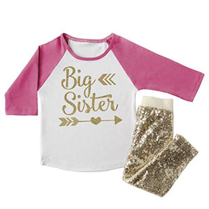 Big Sister Outfit, Toddler Clothes For Girls, Big Sister Shirt And Pants (2T)