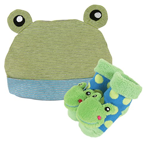 Stephan Baby Rattle Socks And Knit Cap Gift Set, Stripy Blue/Green Frog