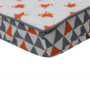 Bacati - Playful Foxes Orange Changing Pad Cover (Orange/Grey Fox With Triangles In Gussett)