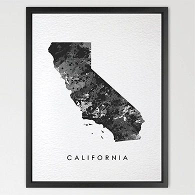 Dignovel Studios 8X10 California Map Usa States Map America Map Print Kids Watercolor Print Wall Art Poster Home Decor Kids Art Motivational Inspirational N176