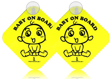 Inspiration  Baby On Board  With Suction Disks Sign, (5X5) (2Pack) (Yellow 1 )