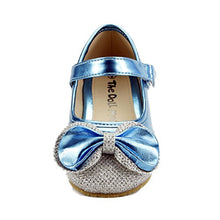 Load image into Gallery viewer, Girls Dress Shoes Wedding Party Sparkle Metallic Mary Jane Style Toddler & Youth Size (7, Blue)