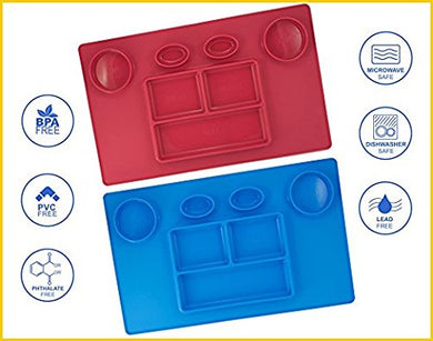 Bellee Silicone Placemat One-Piece Non Slip Silicone Child Kids Safe Baby Food Plate Divided Eating Bowl Tray Placemat - One Size - (Boy Set)