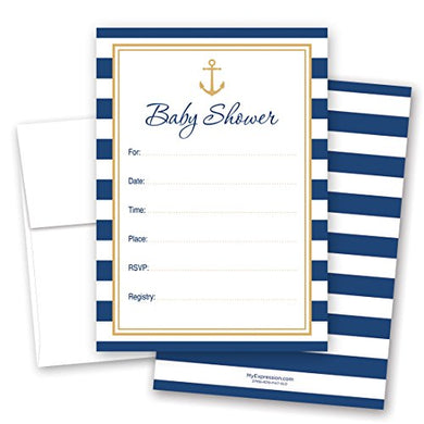 24 Cnt Navy Gold Nautical Baby Shower - Fill-In