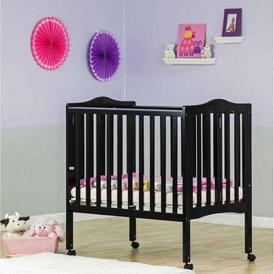 Dream On Me 2-In-1 Lightweight Portable Folding Crib, Black
