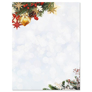 Holiday Sparkle Christmas Letter Papers - Set Of 25 Christmas Stationery Papers Are 8 1/2  X 11 , Compatible Computer Paper