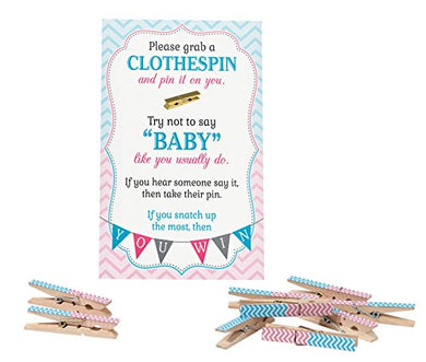 Lillian Rose Baby Gender Reveal Clothespin Game, Pink/Blue, 11.25  X 6