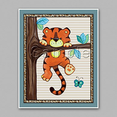 Treetop Jungle Animal Buddies Nursery Wall Art Prints (8 X10 , Tiger)