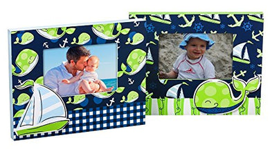 Whale And Sailboat Out Canvas Boys 4 X 6 Picture Frame Set