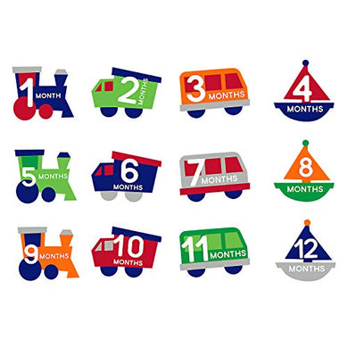 Pearhead Milestone Baby Belly Stickers, Photo Props Set, A Unique Baby Shower Gift, Includes Trains, Trucks, Vans, And Boats, Months 1-12