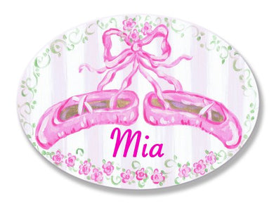 The Kids Room By Stupell Mia, Pink Ballet Slippers Personalized Oval Wall Plaque