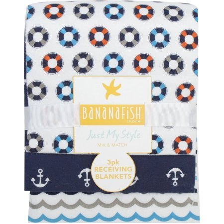 Bananafish Studio Anchors Aweigh Receiving Blankets, 3Pk