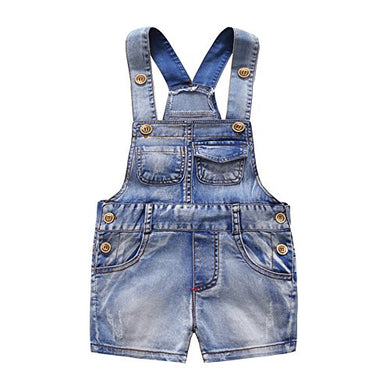 Kidscool Baby And Little Boys/Girls Cute Six Pockets Bib Denim Short Overalls Light Blue 2 - 3 Years