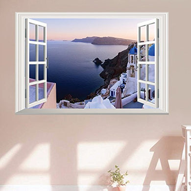 Homefind Santorini Scenery Wall Decals 3D Murals Fake Window View Of Beautiful Frame Glass Wall Stickers Wall Decals Of A Window Bedroom Girls Room Nursery Removable Vinyl Home Decorations 23 W X 16 H