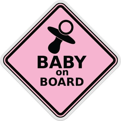 Baby On Board Vinyl Sticker Decal Boy Girl Blue Pink (5 Inch, Pink)
