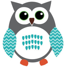 Load image into Gallery viewer, Owl Wall Decals, Nursery Room Wall Decals, Teal And Gray Vinyl Tree