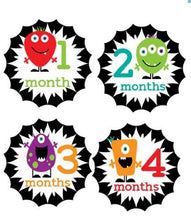 Load image into Gallery viewer, Monthly Stickers Baby Month Stickers Baby Girl Monthly Stickers Baby Boy Monthly Stickers Veggie Monsters Monthly Stickers Primary Colors Neutral Monthly Stickers