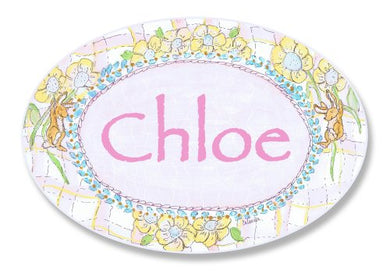 The Kids Room By Stupell Chloe, Bunnies Playing With Flowers Personalized Oval Wall Plaque