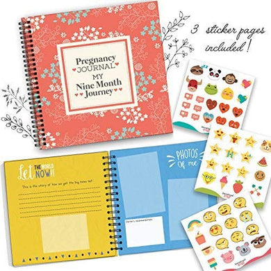 My Nine Month Journey Pregnancy Journal And Baby Memory Book With Stickers - Baby Scrapbook And Photo Album - Perfect Pregnancy Gifts For First Time Moms - Picture And Milestone Books For Toddlers