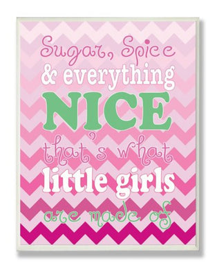 The Kids Room By Stupell Sugar And Spice And Everything Nice Nursery Rhyme On Pink Chevron Rectangle Wall Plaque