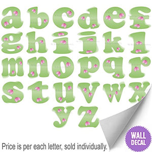 Wall Letters H Green Pink Ladybug Letter Stickers Alphabet Initial Vinyl Sticker Kid Decals Children Room Decor Baby Nursery Girl Bedroom Decorations Child Names Personalized Decal Graphics Ladybugs