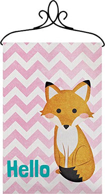 Manual Hello Fox Chevron Nursery Wallhanging Bannerette W/ Rod Swhfox 18X13  Pink White Blue Brown