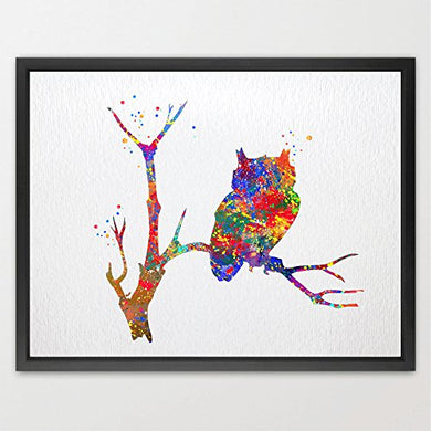 Dignovel Studios 8X10 Owl Print Bird Watercolor Illustration Art Print Wall Art Poster Print Home Decor Wall Art Hanging Kids Room Decor Personalized Gift N018