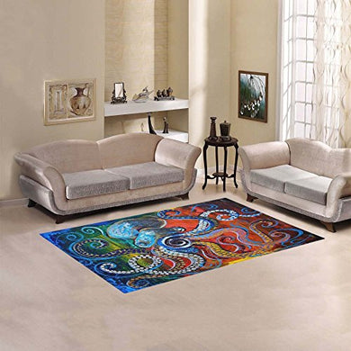 Jc-Dress Area Rug Cover Colorful Octopus Modern Carpet Cover 5'X3'3