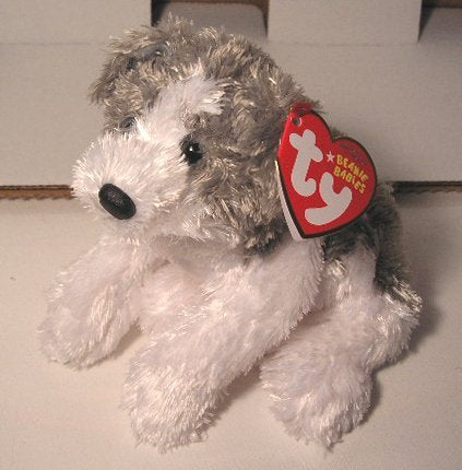 Ty Beanie Baby - Fetch The Dog (Grey & White Version)