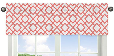 Modern White And Coral Diamond Geometric Window Valance
