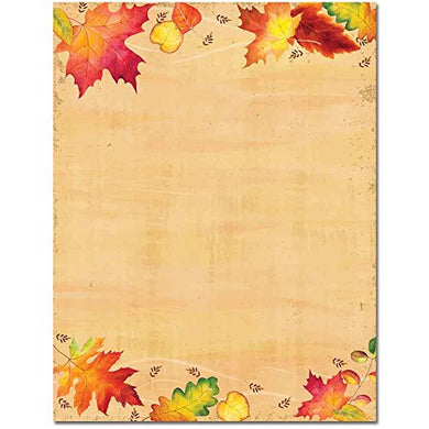 Falling Autumn Leaves Letterhead Laser &Amp; Inkjet Printer Paper,