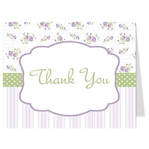 Thank You Cards, Floral, Flowers, Stripes, Lavender, Purple, Mint, Green, Sage, Baby Shower, Wedding, Bridal, Personal, Business, Rustic, Set Of 50 Folding Notes With White Envelopes, Simply Chic