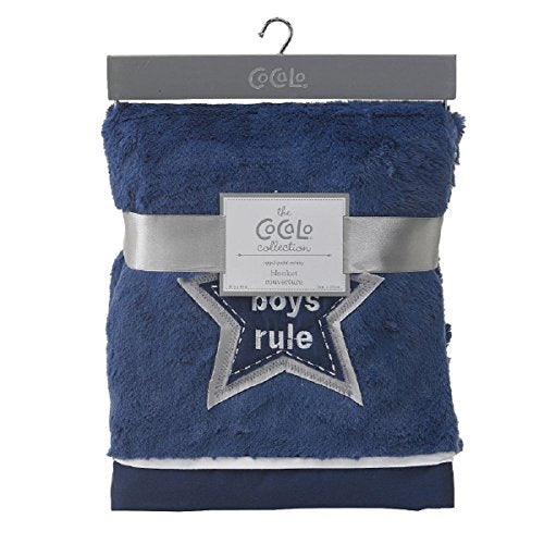 Cocalo Collection Boys Rule Applique Minky Blanket Blue/Grey