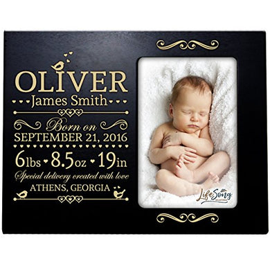 Lifesong Milestones Personalized New Baby Birth Announcement Picture Frame For Newborn Boys And Girls Custom Engraved Photo Frame For New Mom And Dad Parents And Grandparents (Black)