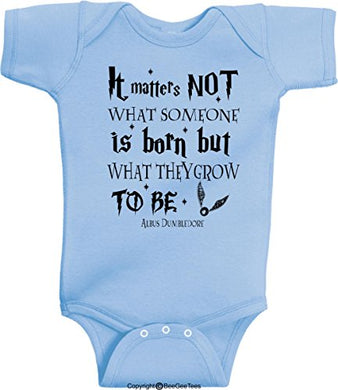 It Matters Not What Someone Is Born But What They Grow To Be Albus Dumbledore Wizard Romper Wizard Onesie By Beegeetees (6 Months, Blue)