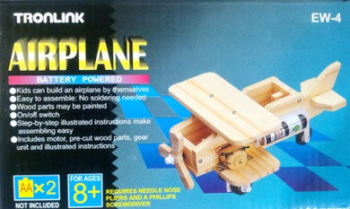 Airplane, Battery Powered, Wooden, Kit
