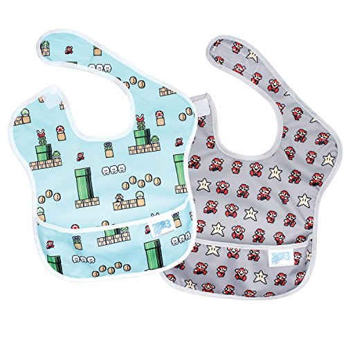 Bumkins Nintendo Super Mario Superbib, Baby Bib, Waterproof, Washable, Stain And Odor Resistant, 6-24 Months, - Game &Amp; Pixel