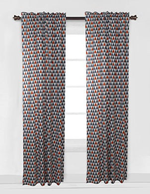Bacati Triangles Curtain Panel, Orange/Grey