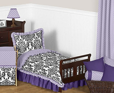 Sweet Jojo Designs Sloane Lavender Purple White Polka Dot And Damask Girls Toddler Bedding 5 Piece Set