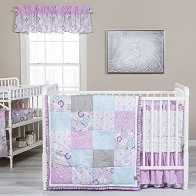 Trend Lab Grace 5 Piece Crib Bedding Set, Purple, Blue, Gray And White