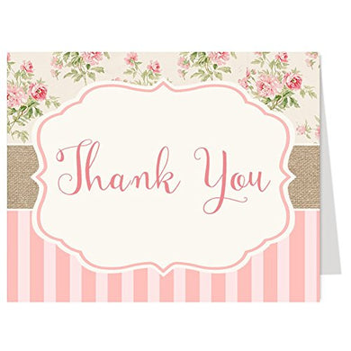 Shabby Chic, Cottage, Thank You Cards, Multiple Colors Available, Girls Baby Shower Bridal Shower, Or Birthday, Set Of 50 With Envelopes, (Pink)
