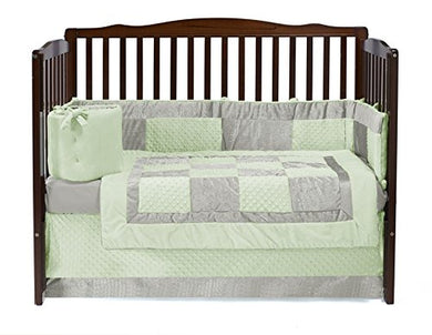 Baby Doll Bedding Croco Minky Crib Set, Sage/Ivory