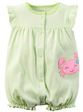Carter'S Baby Girls' Cotton 1-Piece Snap-Up Romper (24 Months, Yellow Crab)