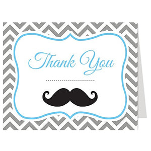Little Man, Thank You Cards, Baby Shower, Birthday, Mustache, Boy, Multiple Colors Available, Gray, Chevron Stripes, Blue, Set Of 50 Folding Notes With Envelopes, (Blue/Gray)