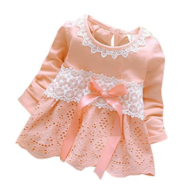 Girls Clothes Odeer 2017 Baby Girls Long Sleeve Party Lace Flower Bow Princess Dress Kids Clothes (Size : 24 Month,  : Pink)
